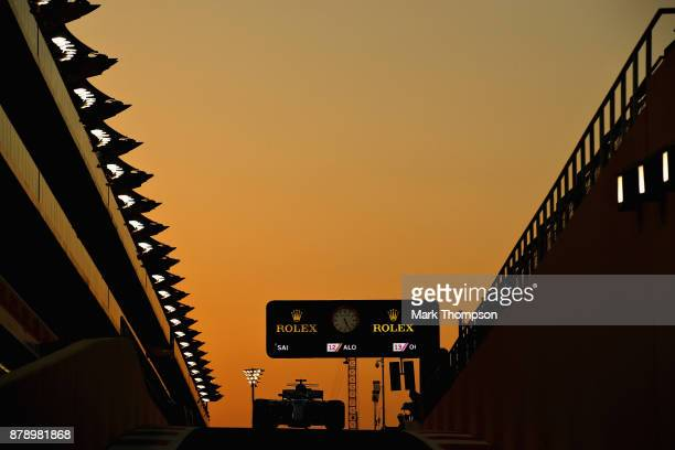 Valtteri Bottas driving the Mercedes AMG Petronas F1 Team Mercedes F1 WO8 in the Pitlane during qualifying for the Abu Dhabi Formula One Grand Prix...