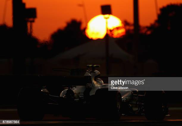 Valtteri Bottas driving the Mercedes AMG Petronas F1 Team Mercedes F1 WO8 on track during qualifying for the Abu Dhabi Formula One Grand Prix at Yas...