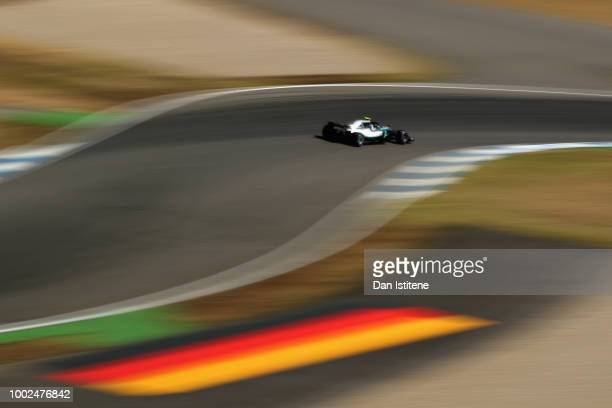 Valtteri Bottas driving the Mercedes AMG Petronas F1 Team Mercedes WO9 on track during practice for the Formula One Grand Prix of Germany at...