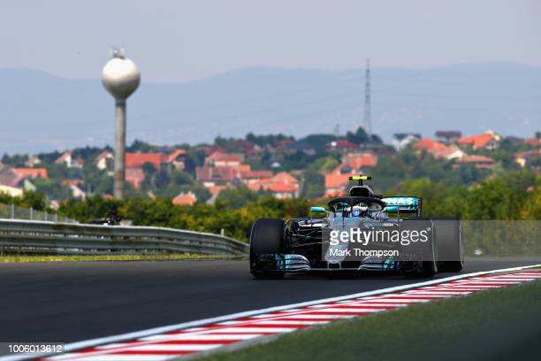 Valtteri Bottas driving the Mercedes AMG Petronas F1 Team Mercedes WO9 on track during practice for the Formula One Grand Prix of Hungary at...