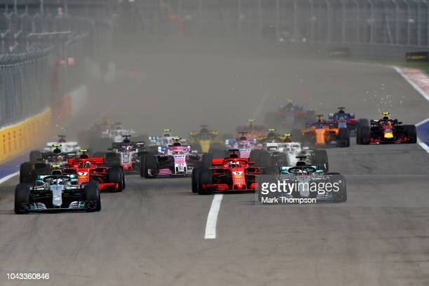 Valtteri Bottas driving the Mercedes AMG Petronas F1 Team Mercedes WO9, Lewis Hamilton of Great Britain driving the Mercedes AMG Petronas F1 Team...