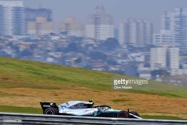Valtteri Bottas driving the Mercedes AMG Petronas F1 Team Mercedes WO9 on track during qualifying for the Formula One Grand Prix of Brazil at...