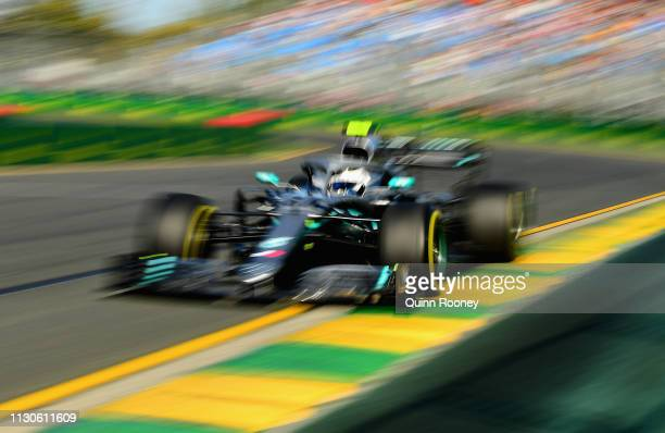 Valtteri Bottas driving the Mercedes AMG Petronas F1 Team Mercedes W10 on track during practice for the F1 Grand Prix of Australia at Melbourne Grand...