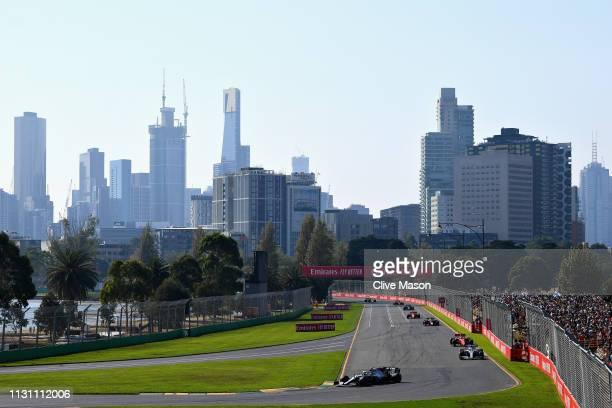 Valtteri Bottas driving the Mercedes AMG Petronas F1 Team Mercedes W10 leads Lewis Hamilton of Great Britain driving the Mercedes AMG Petronas F1...