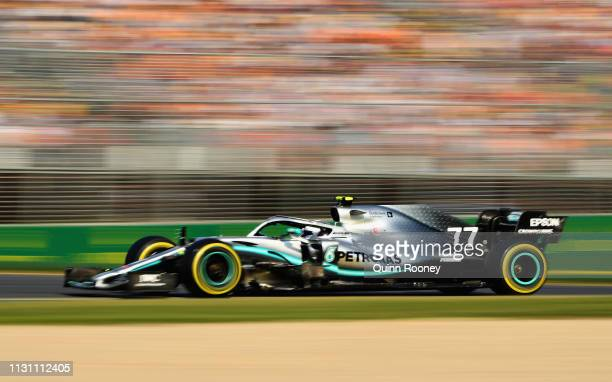 Valtteri Bottas driving the Mercedes AMG Petronas F1 Team Mercedes W10 on track during the F1 Grand Prix of Australia at Melbourne Grand Prix Circuit...