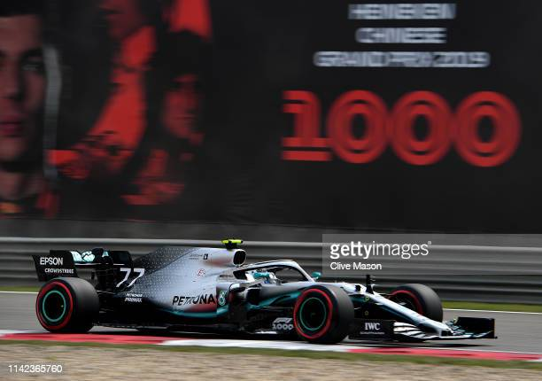 Valtteri Bottas driving the Mercedes AMG Petronas F1 Team Mercedes W10 on track during qualifying for the F1 Grand Prix of China at Shanghai...