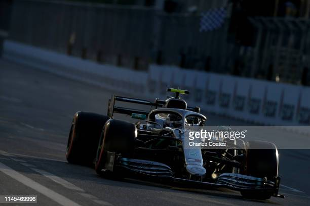 Valtteri Bottas driving the Mercedes AMG Petronas F1 Team Mercedes W10 on track during qualifying for the F1 Grand Prix of Azerbaijan at Baku City...
