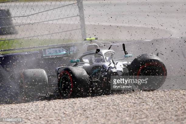 Valtteri Bottas driving the Mercedes AMG Petronas F1 Team Mercedes W10 crashes during practice for the F1 Grand Prix of Austria at Red Bull Ring on...