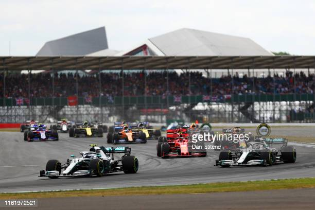 Valtteri Bottas driving the Mercedes AMG Petronas F1 Team Mercedes W10 leads Lewis Hamilton of Great Britain driving the Mercedes AMG Petronas F1...