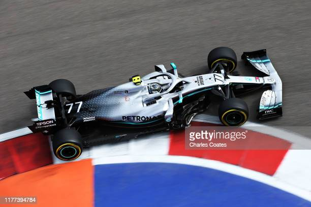 Valtteri Bottas driving the Mercedes AMG Petronas F1 Team Mercedes W10 on track during practice for the F1 Grand Prix of Russia at Sochi Autodrom on...