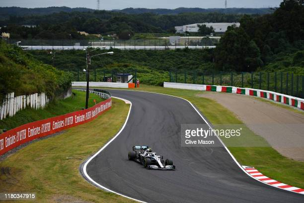 Valtteri Bottas driving the Mercedes AMG Petronas F1 Team Mercedes W10 on track during practice for the F1 Grand Prix of Japan at Suzuka Circuit on...