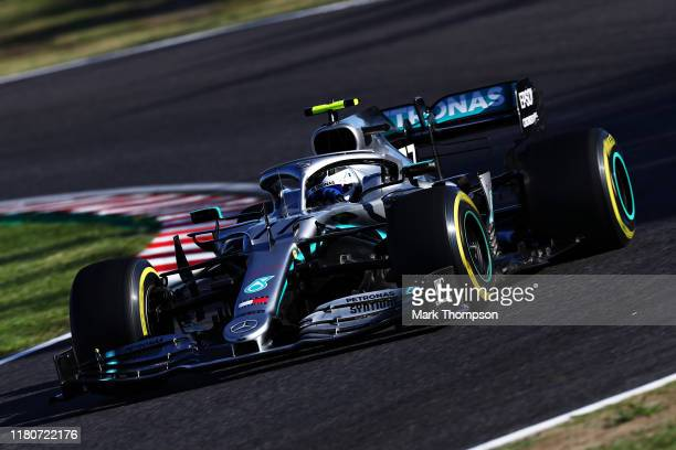 Valtteri Bottas driving the Mercedes AMG Petronas F1 Team Mercedes W10 on track during the F1 Grand Prix of Japan at Suzuka Circuit on October 13...