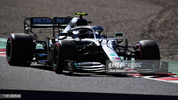 Valtteri Bottas driving the Mercedes AMG Petronas F1 Team Mercedes W10 on track during qualifying for the F1 Grand Prix of Japan at Suzuka Circuit on...