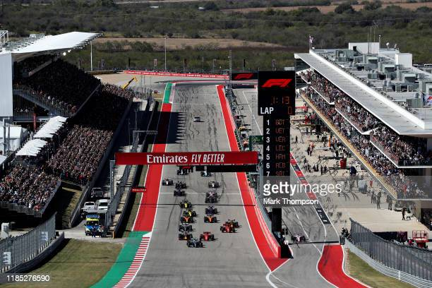 Valtteri Bottas driving the Mercedes AMG Petronas F1 Team Mercedes W10 leads the field into turn one at the start during the F1 Grand Prix of USA at...