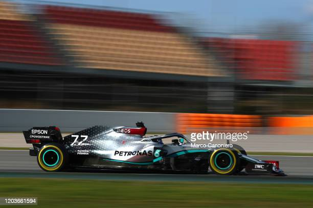 Valtteri Bottas driving the Mercedes AMG Petronas F1 Team Mercedes W11 on track during day five of F1 Winter Testing