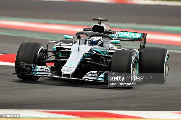 Valtteri Bottas driving the Mercedes AMG Petronas F1 Team Mercedes WO9 on track during day one of F1 Winter Testing at Circuit de Catalunya on...