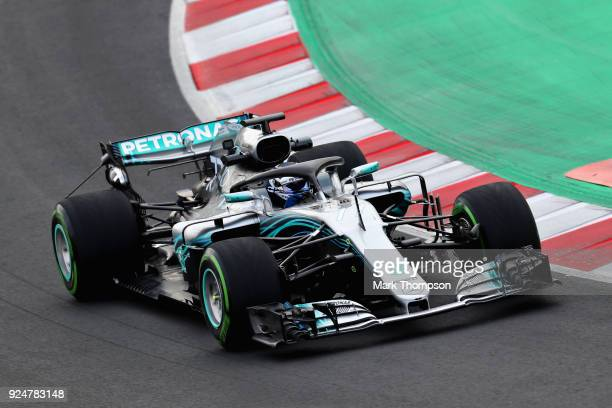 Valtteri Bottas driving the Mercedes AMG Petronas F1 Team Mercedes WO9 on track during day two of F1 Winter Testing at Circuit de Catalunya on...