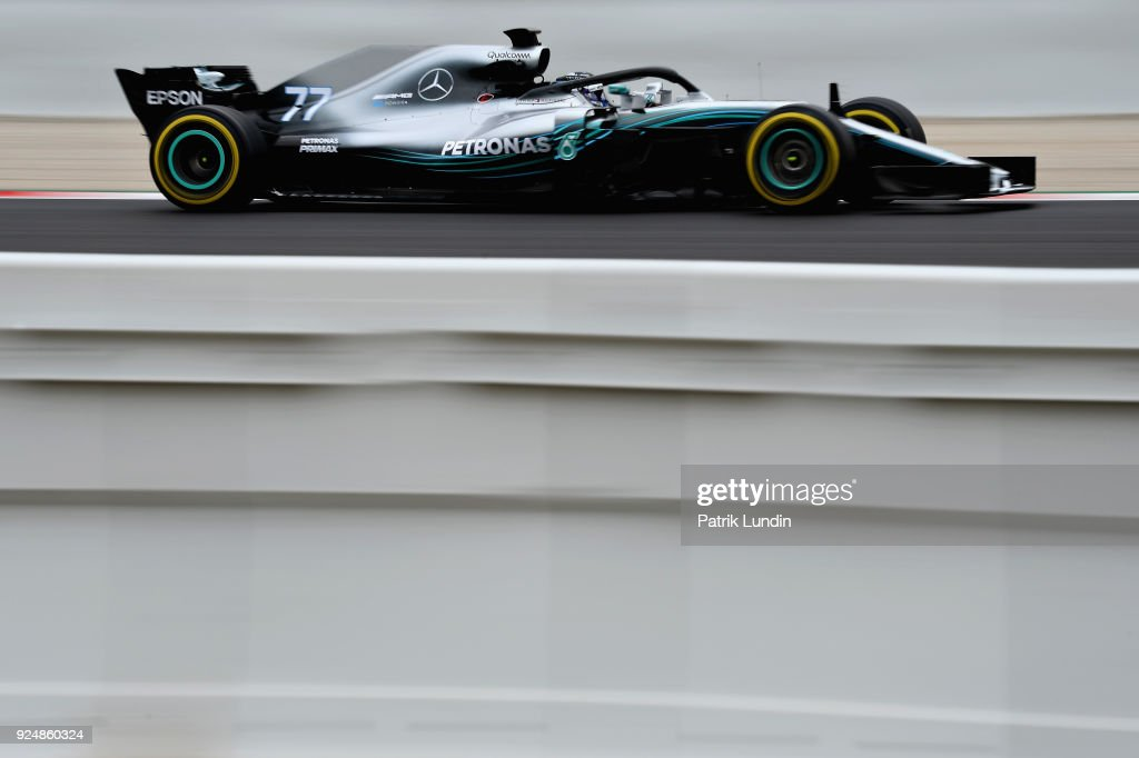 Valtteri Bottas driving the (77) Mercedes AMG Petronas F1 Team Mercedes WO9 on track during day two of F1 Winter Testing at Circuit de Catalunya on February 27, 2018 in Montmelo, Spain.