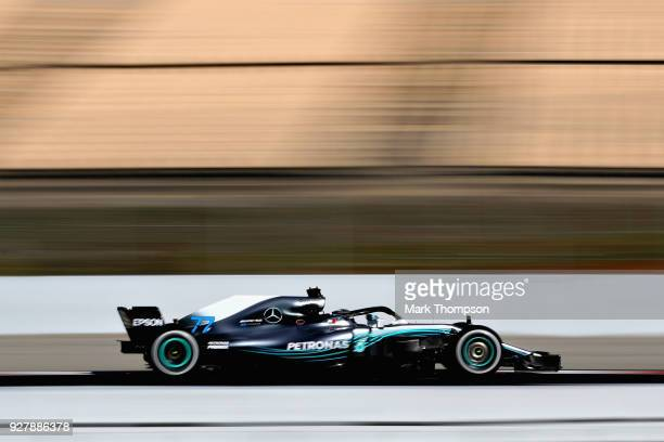 Valtteri Bottas driving the Mercedes AMG Petronas F1 Team Mercedes WO9 on track during day one of F1 Winter Testing at Circuit de Catalunya on March...