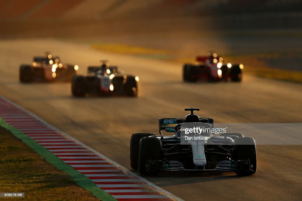 Valtteri Bottas driving the (77) Mercedes AMG Petronas F1 Team Mercedes WO9 leads three cars during a practice start during day two of F1 Winter Testing at Circuit de Catalunya on March 7, 2018 in Montmelo, Spain.