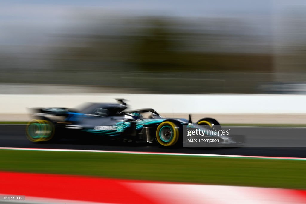 Valtteri Bottas driving the (77) Mercedes AMG Petronas F1 Team Mercedes WO9 on track during day four of F1 Winter Testing at Circuit de Catalunya on March 9, 2018 in Montmelo, Spain.