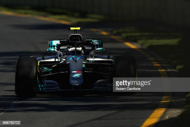 Valtteri Bottas driving the Mercedes AMG Petronas F1 Team Mercedes WO9 on track during practice for the Australian Formula One Grand Prix at Albert...