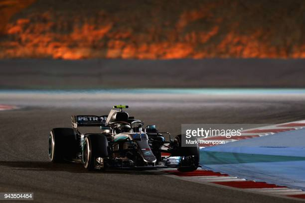 Valtteri Bottas driving the Mercedes AMG Petronas F1 Team Mercedes WO9 on track during the Bahrain Formula One Grand Prix at Bahrain International...