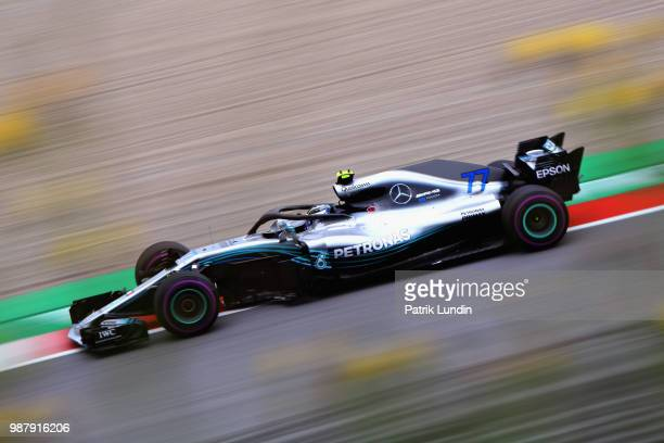Valtteri Bottas driving the Mercedes AMG Petronas F1 Team Mercedes WO9 on track during qualifying for the Formula One Grand Prix of Austria at Red...