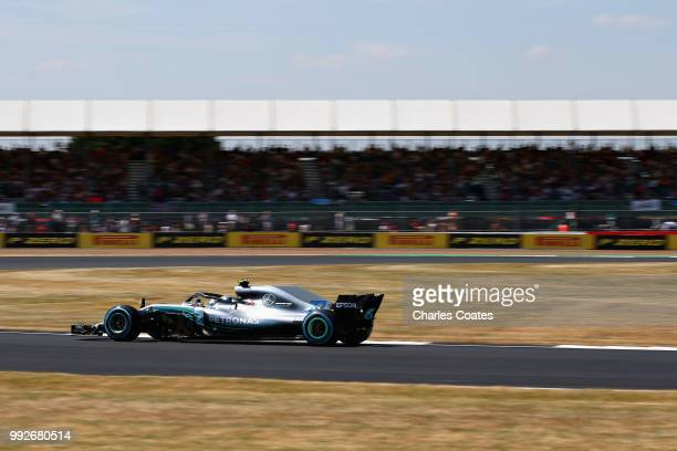 Valtteri Bottas driving the Mercedes AMG Petronas F1 Team Mercedes WO9 on track during practice for the Formula One Grand Prix of Great Britain at...