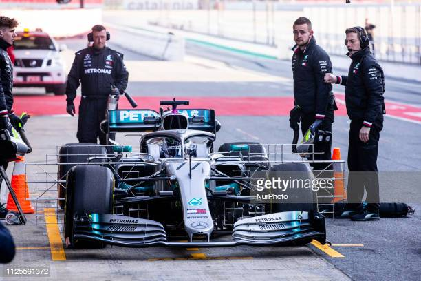 Valtteri Bottas fo Finland with 77 of Mercedes AMG Petronas Motorsport W10 in action at the pitlane during the Formula 1 2019 PreSeason Tests at...