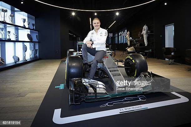 Valtteri Bottas is unveiled as a MercedesAMG Petronas F1 driver at the team's factory on January 16 2017 in Brackley England