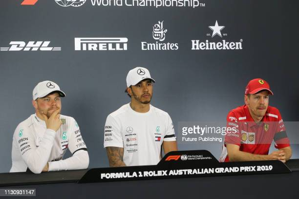 Valtteri BOTTAS Lewis HAMILTON and Sebastian VETTEL in a press conference after qualifying on day 3 of the 2019 Formula 1 Australian Grand Prix