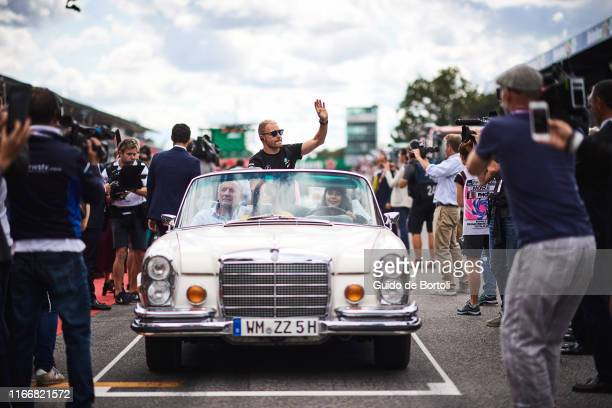 Valtteri Bottas of Finland and Mercedes AMG Petronas F1 Team during the drivers parade of the Formula 1 Grand Prix of Italy at Autodromo di Monza on...