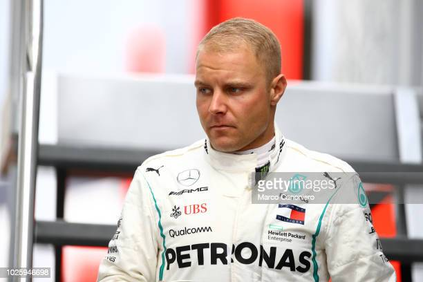 Valtteri Bottas of Finland and Mercedes AMG Petronas F1 Team in the paddock during the Formula One Grand Prix of Italy