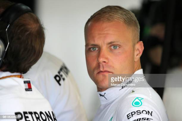 Valtteri Bottas of Finland and Mercedes AMG Petronas F1 Team in the garage before practice for the Formula One Gran Prix de France