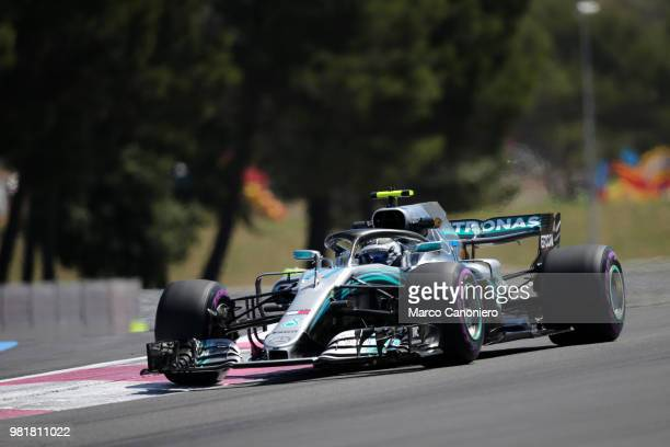 Valtteri Bottas of Finland and Mercedes AMG Petronas F1 Team on track during practice for the Formula One Gran Prix de France