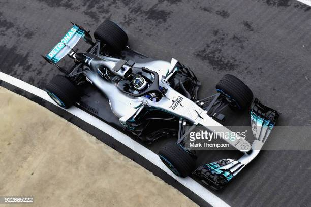 Valtteri Bottas of Finland and Mercedes GP is seen driving the Mercedes W09 on track during the launch of the Mercedes Formula One team's 2018 car...