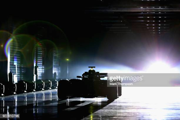 Valtteri Bottas of Finland and Mercedes GP is seen driving the Mercedes W09 during the launch of the Mercedes Formula One team's 2018 car the W09 at...
