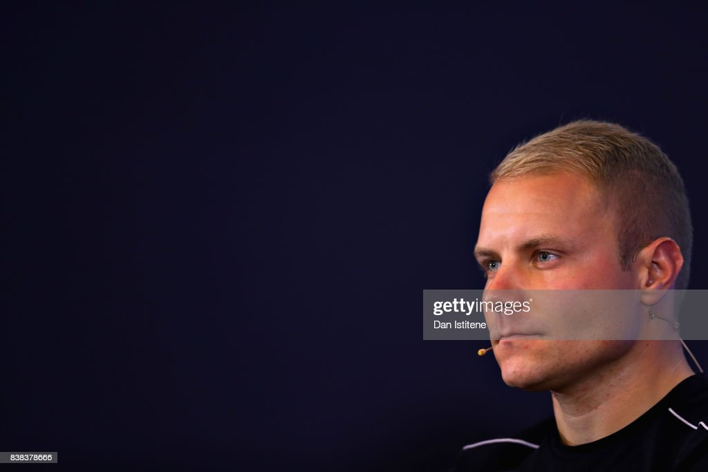 Valtteri Bottas of Finland and Mercedes GP looks on in the Drivers Press Conference during previews ahead of the Formula One Grand Prix of Belgium at Circuit de Spa-Francorchamps on August 24, 2017 in Spa, Belgium.