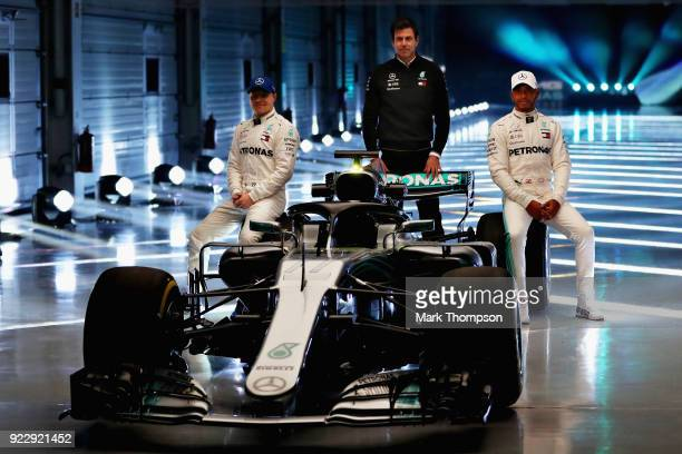 Valtteri Bottas of Finland and Mercedes GP Mercedes GP Executive Director Toto Wolff and Lewis Hamilton of Great Britain and Mercedes GP pose for a...