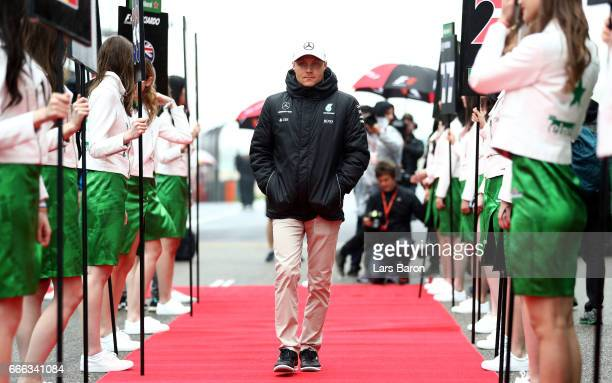 Valtteri Bottas of Finland and Mercedes GP on the drivers parade before the Formula One Grand Prix of China at Shanghai International Circuit on...