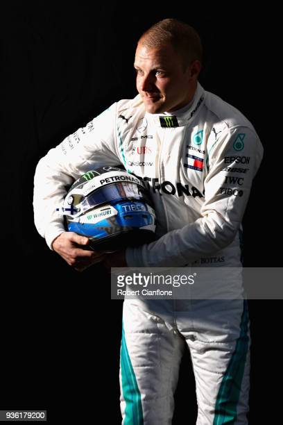 Valtteri Bottas of Finland and Mercedes GP poses for a photo during previews ahead of the Australian Formula One Grand Prix at Albert Park on March...
