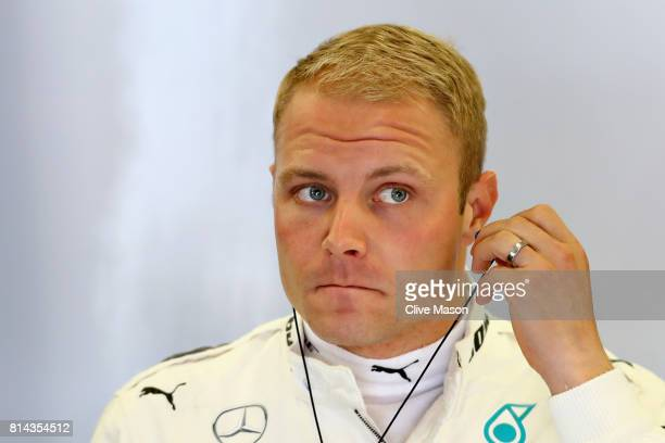 Valtteri Bottas of Finland and Mercedes GP prepares to drive during practice for the Formula One Grand Prix of Great Britain at Silverstone on July...