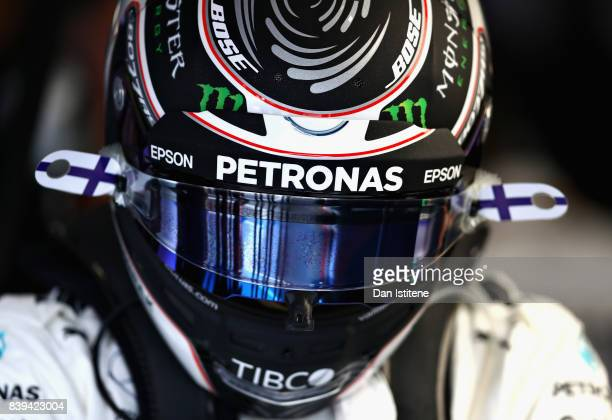 Valtteri Bottas of Finland and Mercedes GP prepares to drive during final practice for the Formula One Grand Prix of Belgium at Circuit de...