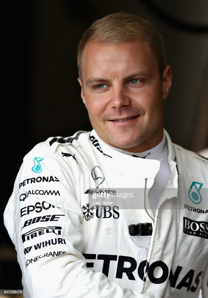 Valtteri Bottas of Finland and Mercedes GP prepares to drive during practice for the Formula One Grand Prix of Singapore at Marina Bay Street Circuit on September 15, 2017 in Singapore.