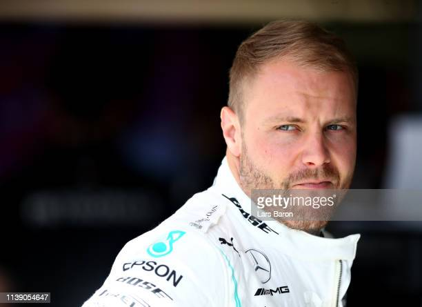 Valtteri Bottas of Finland and Mercedes GP prepares to drive in the garage during practice for the F1 Grand Prix of Bahrain at Bahrain International...