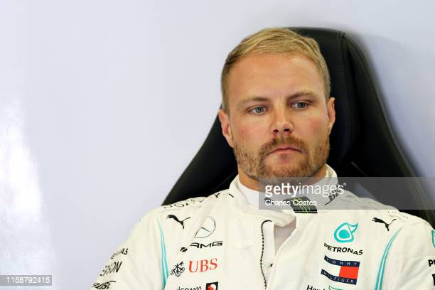 Valtteri Bottas of Finland and Mercedes GP prepares to drive in the garage during practice for the F1 Grand Prix of Austria at Red Bull Ring on June...