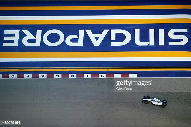Valtteri Bottas of Finland and Williams drives during final practice for the Formula One Grand Prix of Singapore at Marina Bay Street Circuit on...