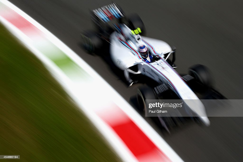 Valtteri Bottas of Finland and Williams drives during Practice ahead of the F1 Grand Prix of Italy at Autodromo di Monza on September 5, 2014 in Monza, Italy.