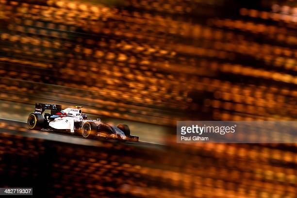 Valtteri Bottas of Finland and Williams drives during practice for the Bahrain Formula One Grand Prix at the Bahrain International Circuit on April...